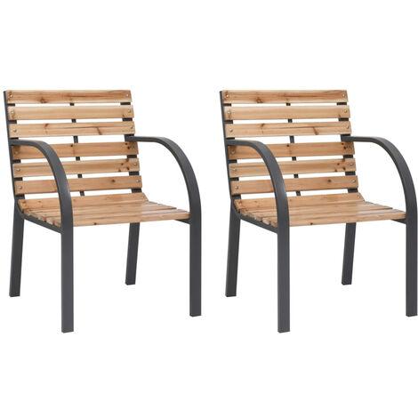 Chaises de jardin 2 pcs Bois