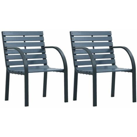 Chaises de jardin 2 pcs Gris Bois
