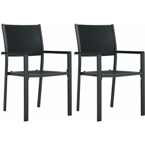 Chaises de jardin 2 pcs Noir Plastique Aspect de rotin