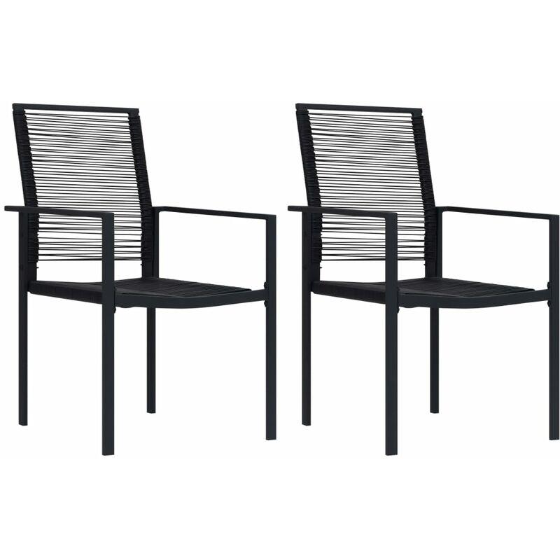 Chaises de jardin 2 pcs Rotin PVC Noir