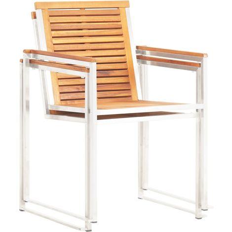 Chaises de jardin 2pcs Bois d'acacia solide et acier inoxydable