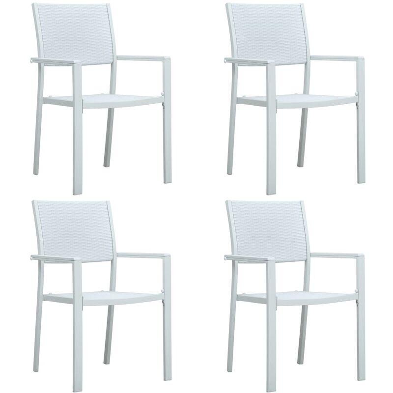 Vidaxl - Chaises de Jardin Plastique Aspect de Rotin Blanc 4 pcs