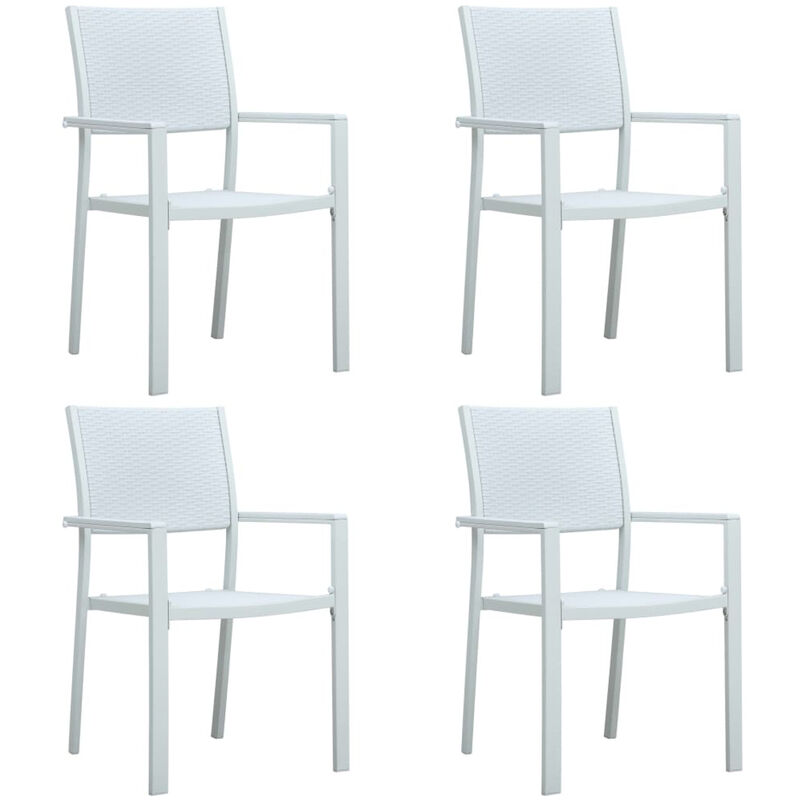 Chaises de jardin 4 pcs Blanc Plastique Aspect de rotin