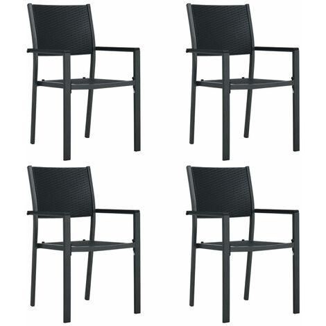 Chaises de jardin 4 pcs Noir Plastique Aspect de rotin