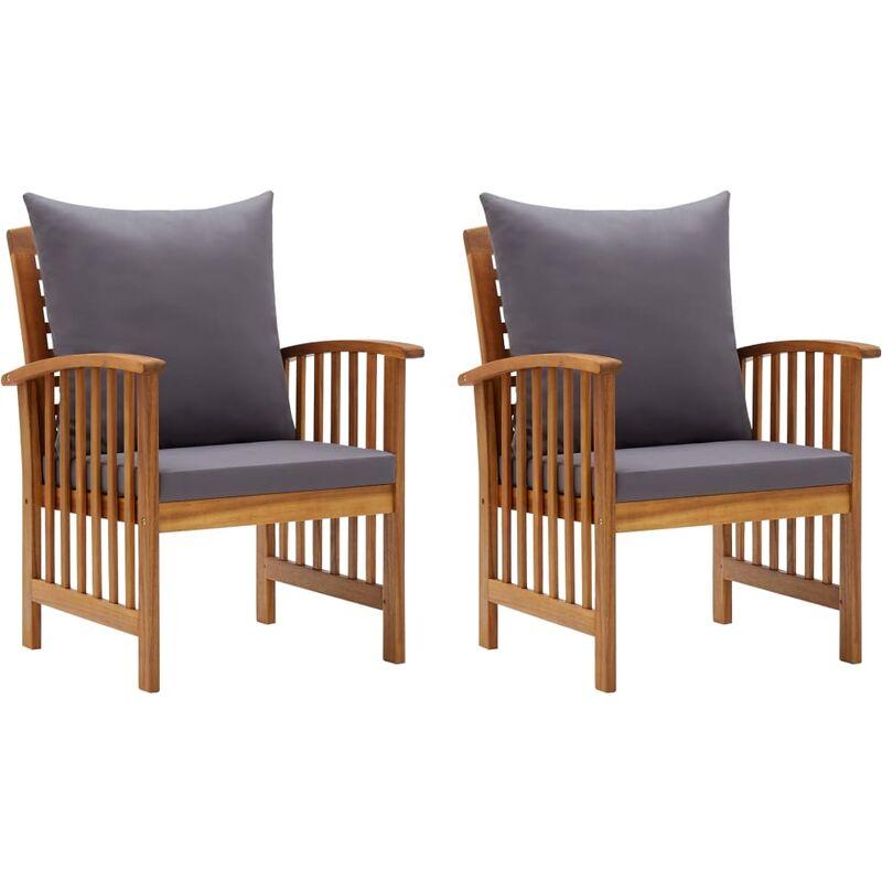 Chaises de jardin avec coussins 2 pcs Bois d'acacia massif