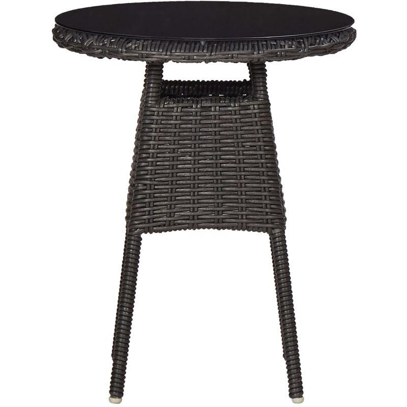 Chaises de jardin avec table a the 2 pcs Resine tressee Noir