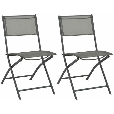 Chaises de jardin pliables 2 pcs Acier et textilène