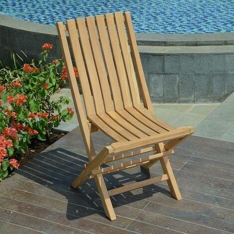 Chaises de jardin pliantes en teck karimun (lot de 2) - Naturel