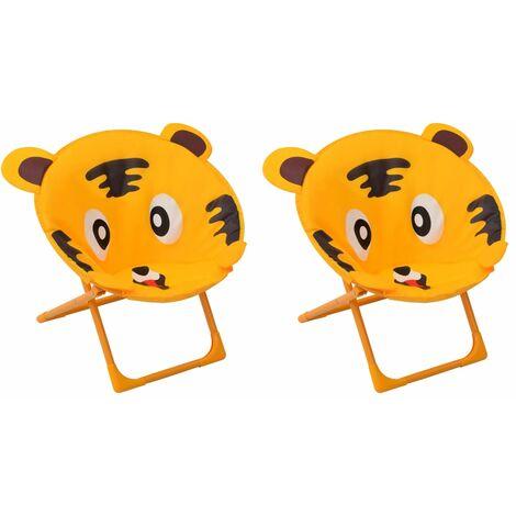 Chaises de jardin pour enfants 2 pcs Jaune Tissu