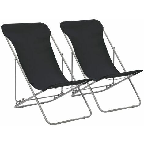 Chaises de plage pliables 2 pcs Acier et tissu oxford Noir