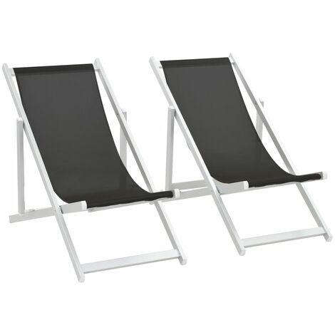 Chaises de plage pliables 2 pcs Aluminium et textilène Noir