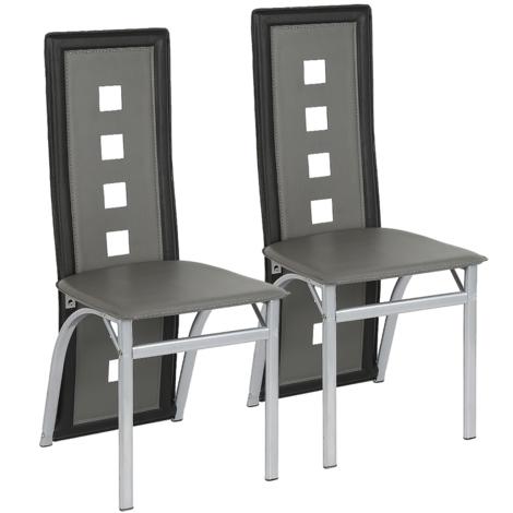Chaises de salle à manger 2 chaises de salle à manger 2 chaises SET cuisine salle à manger chaise Gris-noir