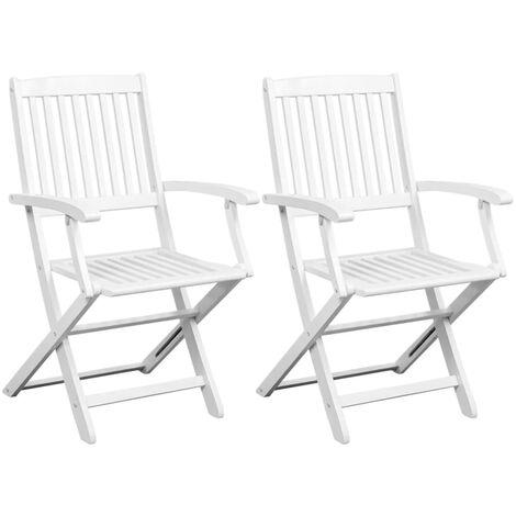 Chaises de salle à manger 2 pcs Blanc Bois d'acacia massif