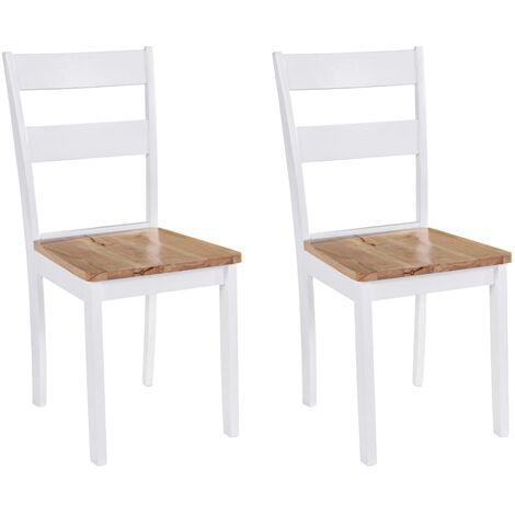 Chaises de salle à manger 2 pcs Blanc Bois d'hévéa massif