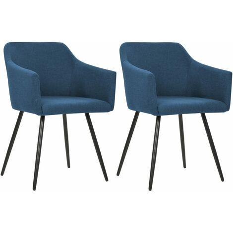 Chaises de salle à manger 2 pcs Bleu Tissu