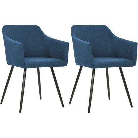 Chaises de salle a manger 2 pcs Bleu Tissu
