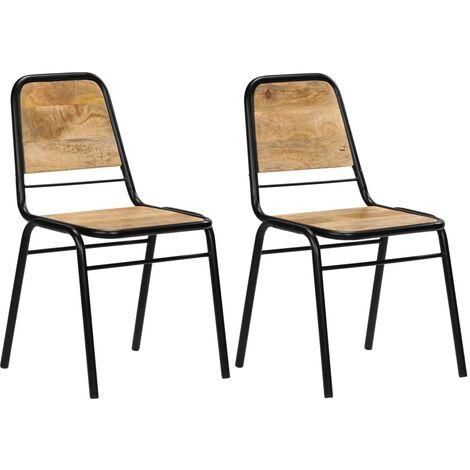 Chaises de salle à manger 2 pcs Bois de manguier solide