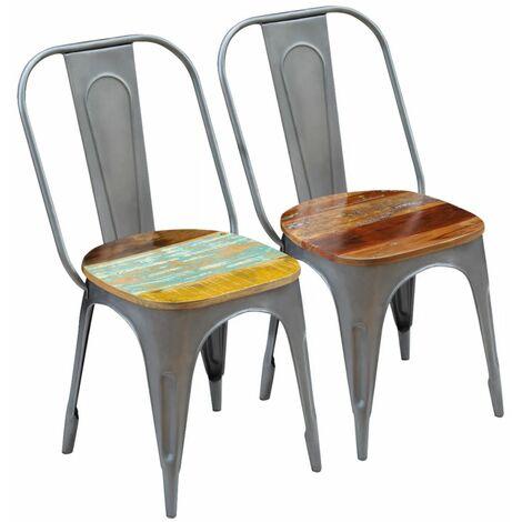 Chaises de salle à manger 2 pcs Bois de récupération solide
