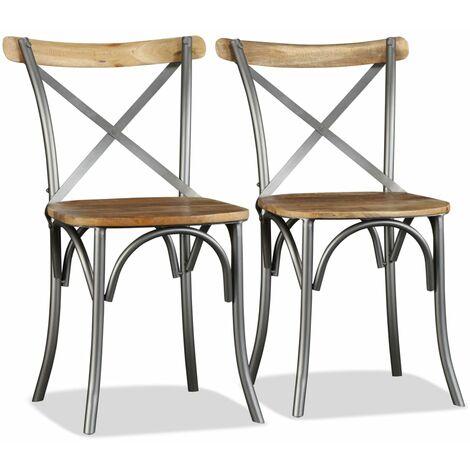 Chaises de salle à manger 2 pcs Bois solide de manguier