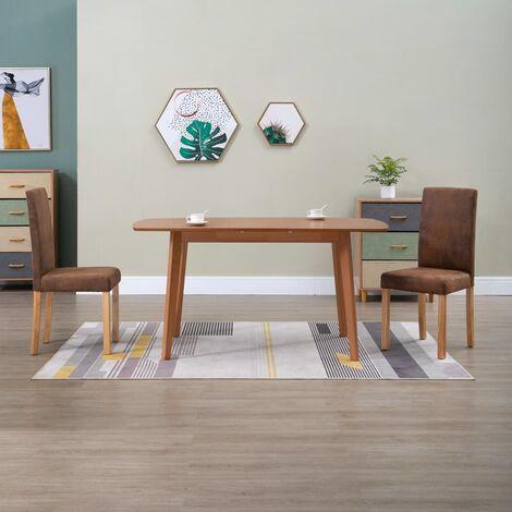 Chaises de salle à manger 2 pcs Marron Similicuir daim 248952