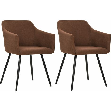 Chaises de salle à manger 2 pcs Marron Tissu