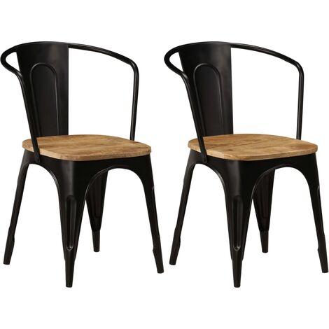 Chaises de salle à manger 2 pcs Noir Bois solide de manguier