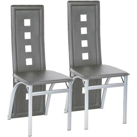 Chaises de salle à manger 2 pcs similicuir blanc - blanc