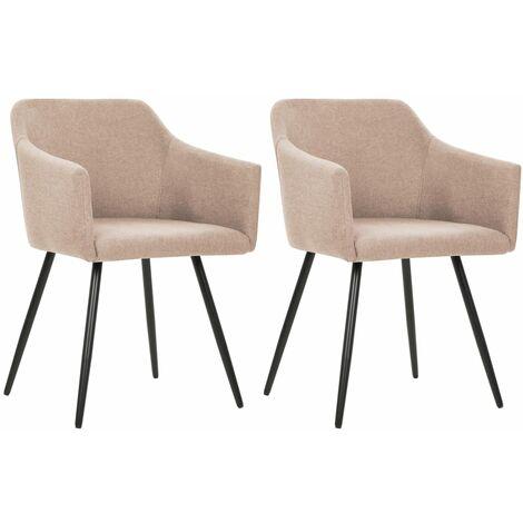 Chaises de salle à manger 2 pcs Taupe Tissu