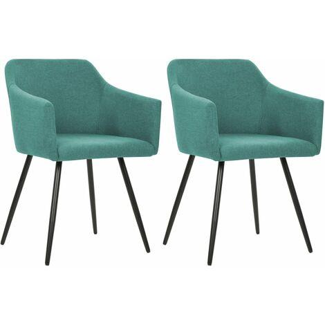 Chaises de salle à manger 2 pcs Vert Tissu