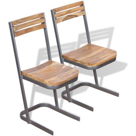 Chaises de salle à manger 2 pièces Bois de teck massif