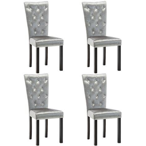 Chaises de salle à manger 4 pcs Argenté Velours