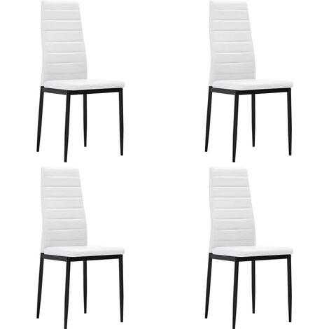 Chaises de salle à manger 4 pcs Blanc Similicuir