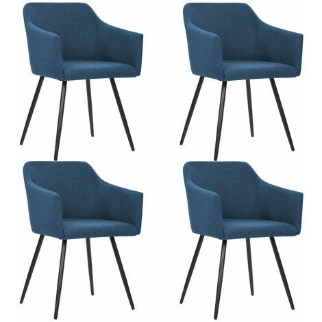 Chaises de salle à manger 4 pcs Bleu Tissu