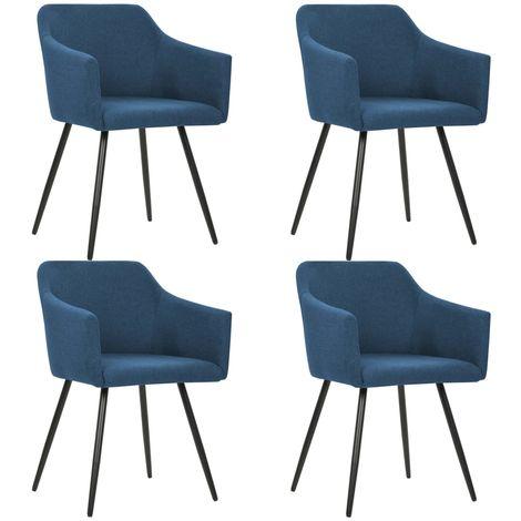 Chaises de salle a manger 4 pcs Bleu Tissu