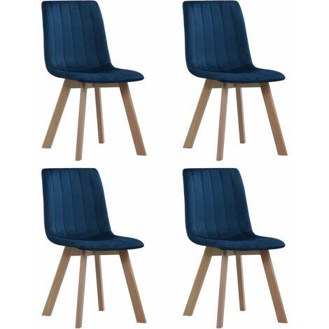 Chaises de salle à manger 4 pcs Bleu Velours