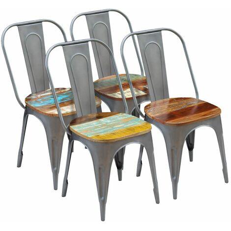 Chaises de salle à manger 4 pcs Bois de récupération solide