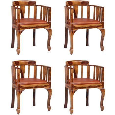 Chaises de salle à manger 4 pcs Cuir véritable et Sesham massif