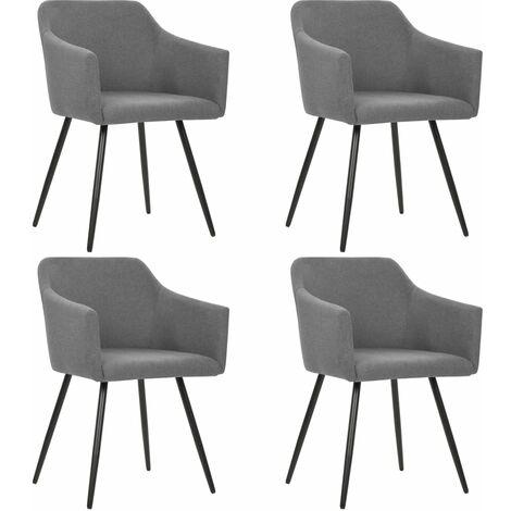 Chaises de salle à manger 4 pcs Gris clair Tissu