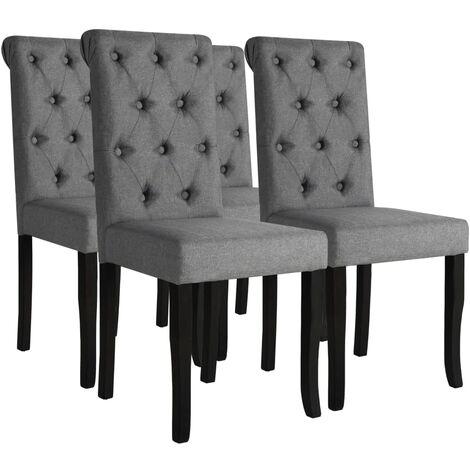 Chaises de salle à manger 4 pcs Gris foncé Tissu