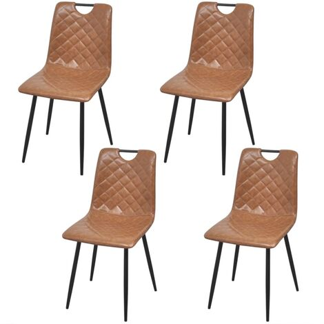 Chaises de salle à manger 4 pcs Marron clair Similicuir