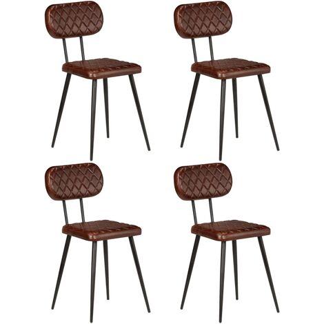 Chaises de salle à manger 4 pcs Marron Cuir véritable