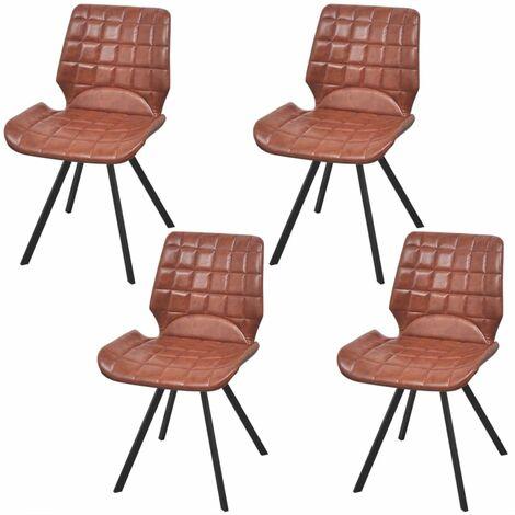 Chaises de salle à manger 4 pcs Marron Similicuir