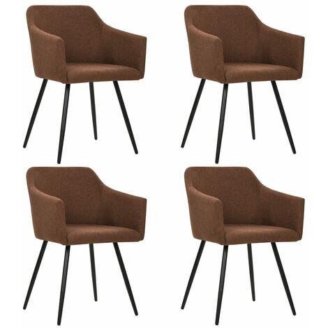 Chaises de salle à manger 4 pcs Marron Tissu