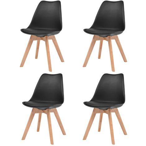 Chaises de salle à manger 4 pcs Noir Similicuir