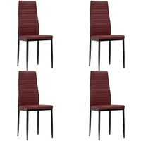 Chaises de salle à manger 4 pcs Rouge bordeaux Similicuir