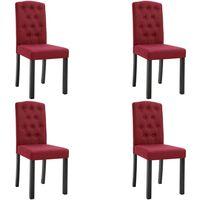 Chaises de salle à manger 4 pcs Rouge bordeaux Tissu