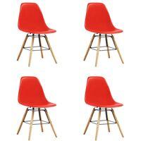 Chaises de salle à manger 4 pcs Rouge Plastique