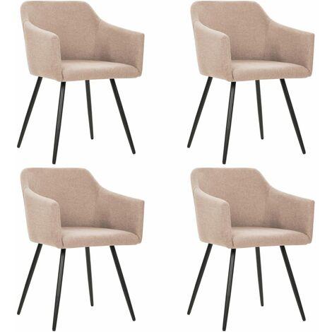 Chaises de salle à manger 4 pcs Taupe Tissu