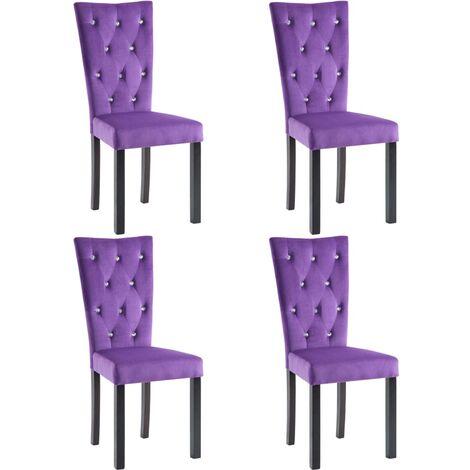 Chaises de salle à manger 4 pcs Violet Velours