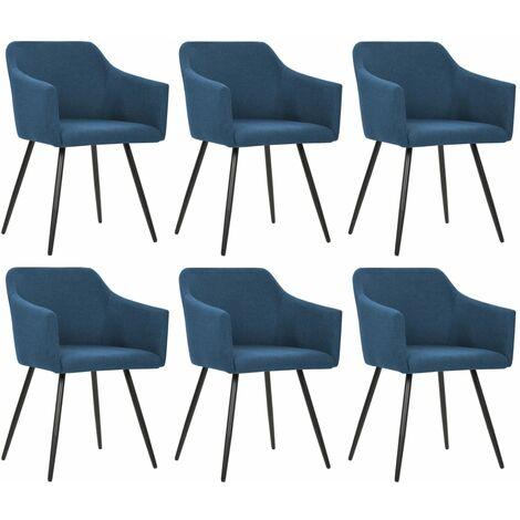 Chaises de salle à manger 6 pcs Bleu Tissu